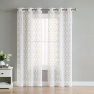 "Set of Two (2) White Sheer Window Curtains: Gold/Taupe Embroidered Diamond Lattice Design 96"" Long"