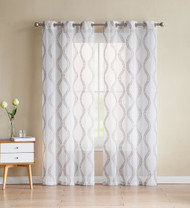 "Set of Two (2) White Sheer Window Curtains: Gold/Taupe Embroidered Geometric Wave Design 96"" Long"