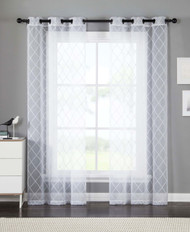 "Set of Two (2) White Sheer Window Curtains: White Embroidered Diamond Lattice Design 96"" Long"