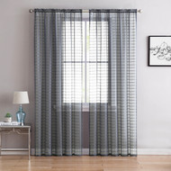 "Single (1) Sheer Rod Pocket Window Curtain Panel: 55"" W X 63"" L, Plaid/Check Design (Silver)"