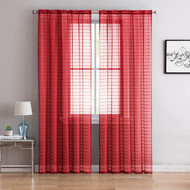 "Single (1) Sheer Rod Pocket Window Curtain Panel: 55"" W X 63"" L, Plaid/Check Design (RED)"