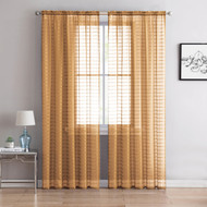 "Single (1) Sheer Rod Pocket Window Curtain Panel: 55"" W X 63"" L, Plaid/Check Design (Gold)"