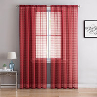 "Single (1) Sheer Rod Pocket Window Curtain Panel: 55"" W X 63"" L, Plaid/Check Design (Burgundy)"