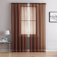 "Single (1) Sheer Rod Pocket Window Curtain Panel: 55"" W X 63"" L, Plaid/Check Design (Chocolate Brown)"