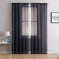 "Single (1) Sheer Rod Pocket Window Curtain Panel: 55"" W X 63"" L, Plaid/Check Design (Black)"