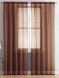 "Single (1) Sheer Rod Pocket Window Curtain Panel: 55"" W X 84"" L, Plaid/Check Design (Chocolate Brown)"