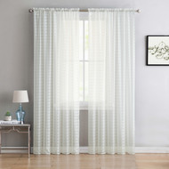 "Single (1) Sheer Rod Pocket Window Curtain Panel: 55"" W X 84"" L, Plaid/Check Design (Beige)"