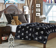 Nautical Navy Ultra Plush & Soft Fleece Sherpa Blanket: Fuzzy Cozy and Warm Throw for Your Bed, Couch, and Sofa (Full (87 x 79 inch))
