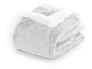 "Duck River Sherpa Plush Fleece Throw Blanket: Reversible, 50"" x 60"" (Silver Gray)"