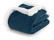 "Muted Navy Sherpa Plush Fleece Throw Blanket: Reversible, 50"" x 60"""