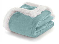 "Blue Sherpa Plush Fleece Throw Blanket: Reversible, 50"" x 60"""
