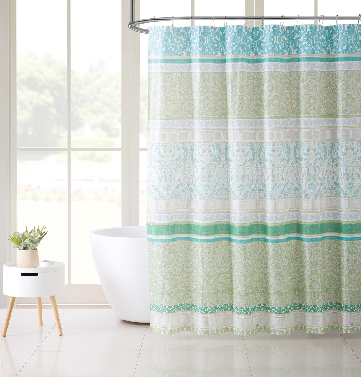 Blue And Green PEVA Shower Curtain Liner Odorless PVC Chlorine