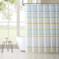 PEVA Shower Curtain Liner Odorless, PVC and Chlorine Free, Biodegradable, Mildew Free, Eco-Friendly Size 72in x 72in (Jordan Aqua & Yellow)