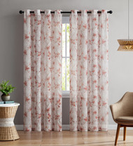 """Set of Two (2) Sheer Window Curtain Panels: Grommets, Coral and Light Mauve Floral Design 84"""" Long"""