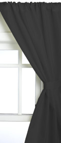 "Black Fabric Window Curtain: 54""L, Ideal for Bathrooms and Small Windows, 2 panels and 2 Tiebacks"