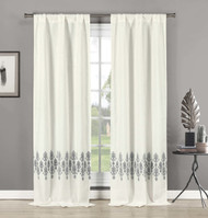 Set of 2 Linen Window Curtain Panels Embroidered Medallion Design Rod Pocket Hang 2 Ways 84in Long (Gray)