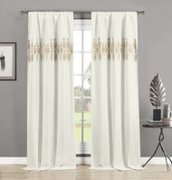 Set of 2 Linen Window Curtain Panels Embroidered Medallion Design Rod Pocket Hang 2 Ways 84in Long (Taupe)