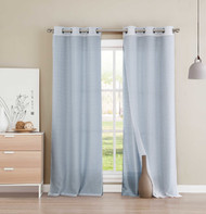 "4 PC Grommet Window Curtain Panel Set Mix and Match Layered Look 2 Blue Faux Silk Panels 2 White Sheer Panels 84"" Long"