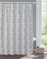 "Tizzy Gray and White Printed Sheer Shower Curtain: Zebra Stripe Design, 70"" x 72"""