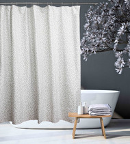 100% Cotton Fabric Shower Curtain Gray with White Spot/Circle Design 70 in x72 in