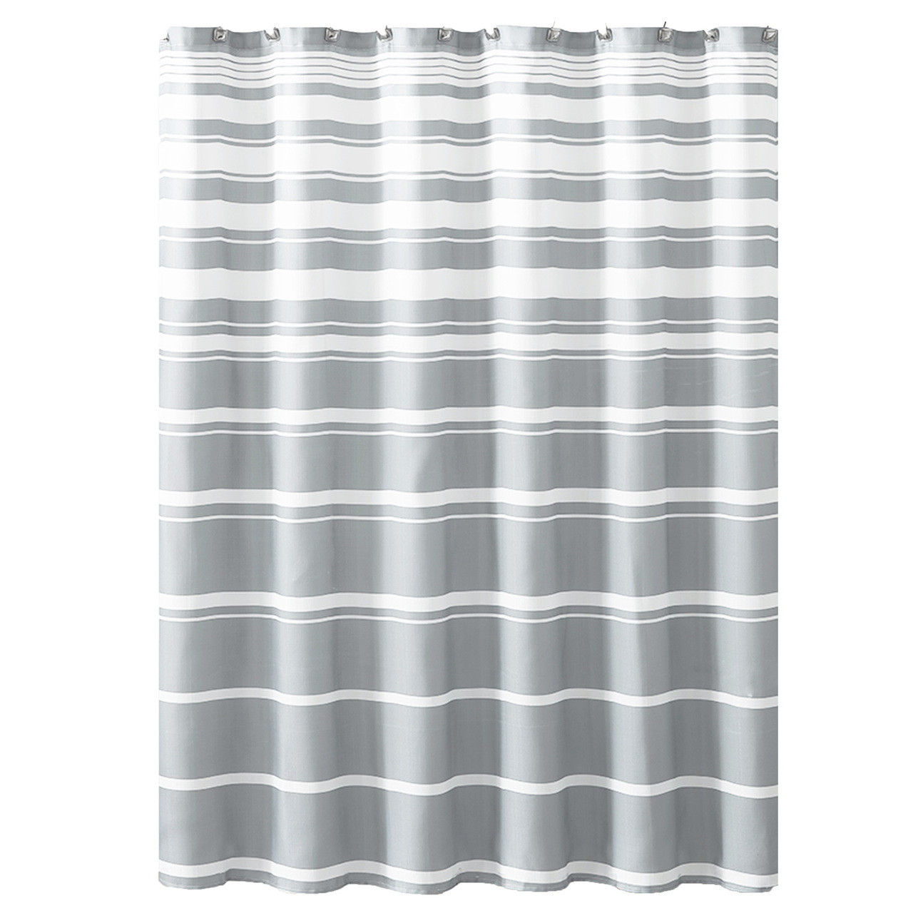 Hudson Essex Grey White Faux Linen Fabric Shower Curtain Variation Horizontal Stripe Design 72 X 72 Inches