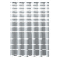 "Hudson & Essex Grey White Faux Linen Fabric Shower Curtain: Variation Horizontal Stripe Design, 72"" x 72"" inches"