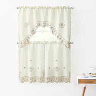 3 Piece Doily Embroidered Kitchen Window Curtain Set: 1 Valance and 2 Tiers (Beige and Taupe)
