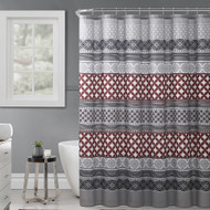 "Gray, Rust and Black Fabric Shower Curtain with Printed Trendy Eclectic Geometrical Design, 72"" x 72"""