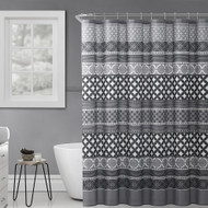 "Black Gray White Fabric Shower Curtain: Geometric Patterned Striped Design 72"" x 72"""