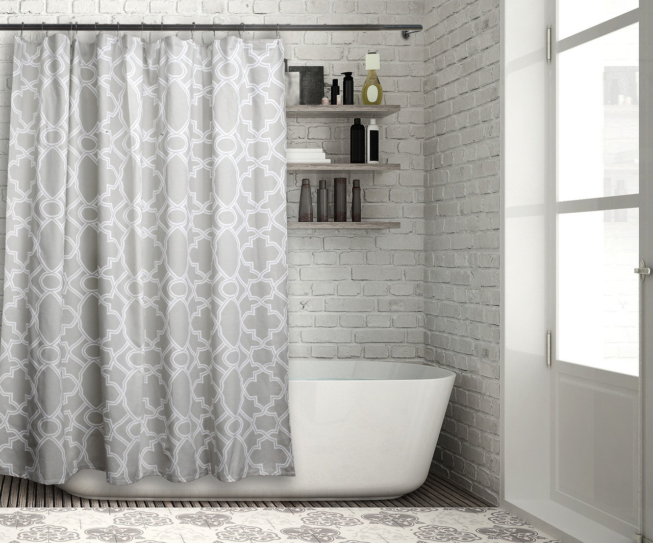 100 Cotton Fabric Shower Curtain Gray Sage With White Moroccan Tile Design 70 In X72 In