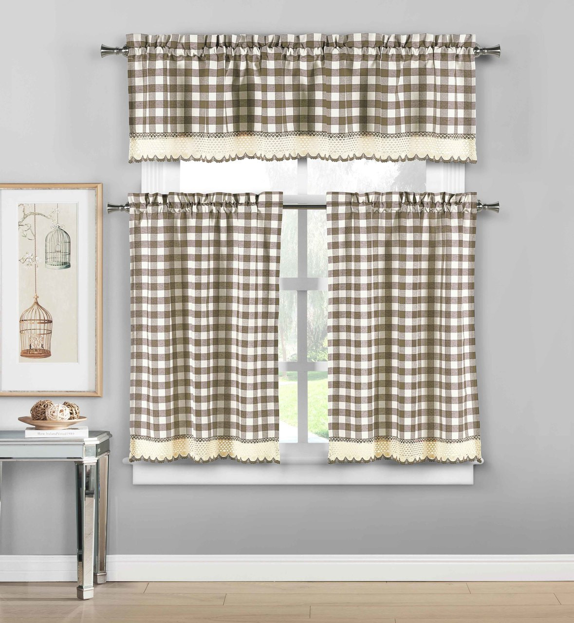 3 Piece Plaid Checkered Gingham Kitchen Curtain Set 35 Cotton 1 Valance 2 Tier Panels With Crochet Accent Taupe