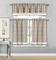 3 Piece Plaid, Checkered, Gingham Kitchen Curtain Set: 35% Cotton, 1 Valance, 2 Tier Panels, with Crochet Accent (Taupe)