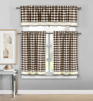 3 Piece Plaid, Checkered, Gingham Kitchen Curtain Set: 35% Cotton, 1 Valance, 2 Tier Panels, with Crochet Accent (Chocolate)