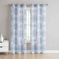 Sheer Grommet Window Curtain Panel Pair with Slate Blue and Off-White Medallion Design 84in L
