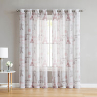 Sheer Linen Look Off-White Grommet Window Curtain Panel Pair with Paris Eiffel Tower Coral Design, 96 in L
