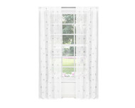 Pure White Sheer Grommet Window Curtain Panel Pair with White and Gray Design 84in L (Gray)