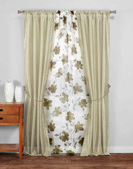 SHEER Collection 5PC Window Panel Set Taupe and White Floral Design 84 in Long Pole Top