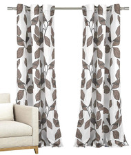 "Set of Two (2) Window Curtain Panels: White with Mocha Taupe Grey Modern Leaf Design, Grommets, 84"" Long"