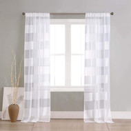 Set of 2 Panels: White Pole Top Striped Linen Textured Window Curtain Pair: Drape for Living Room & Bedroom, 112 Inch Long