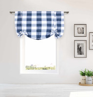 Blue and White Tie-up Window Curtain Shade Large Buffalo Check 100% Cotton 42 in Wide X 63 in Long