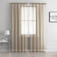 "Single (1) Sheer Rod Pocket Window Curtain Panel: 55"" W X 90"" L, Plaid/Check Design (Taupe)"