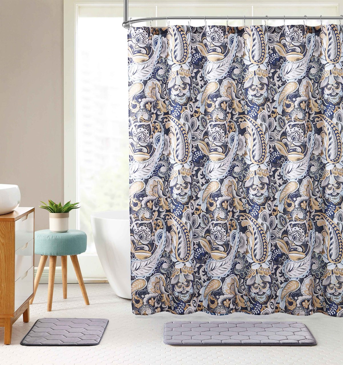 Elegant Navy Blue Beige Fabric Shower Curtain Large Floral Paisley Print Design 72 X 72 Inch