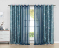 Bathroom and More 4PC Grommet Window Panel Set with Metallic Silver Floral Design 84 in Long (Teal Blue)