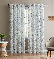 "Set of Two (2) Sheer Window Curtain Panels: Grommets, Teal and White Floral Design 84"" Long"