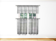 Bathroom and More Silver Gray Sheer 3 Piece Window Curtain Set: Stripe Design, 2 Cafe Tiers, 1 Valance