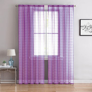"Single (1) Sheer Rod Pocket Window Curtain Panel: 55"" W X 84"" L, Plaid/Check Design (Purple)"