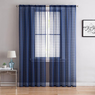 "Single (1) Sheer Rod Pocket Window Curtain Panel: 55"" W X 84"" L, Plaid/Check Design (Navy)"