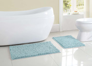 Two (2) Piece Aqua Blue Bath Rug/Mat Set: 2 Toned Chenille Colors, Latex Spray Non-Skid Backing