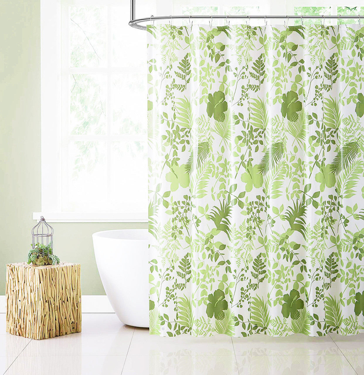 Green Peva Shower Curtain Liner Odorless Pvc And Chlorine Free
