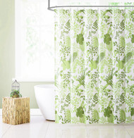 Green PEVA Shower Curtain Liner Odorless, PVC and Chlorine Free, Biodegradable, Mildew Free, Eco-Friendly, Floral/Botanical Design, Size 72in x 72in